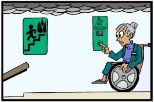 Cartoon of a lady using a Wheechair in Fire Refuge using Communications