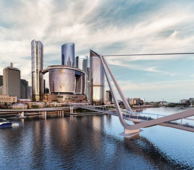 Landmark Brisbane Pedestrian Bridge in Position to Go